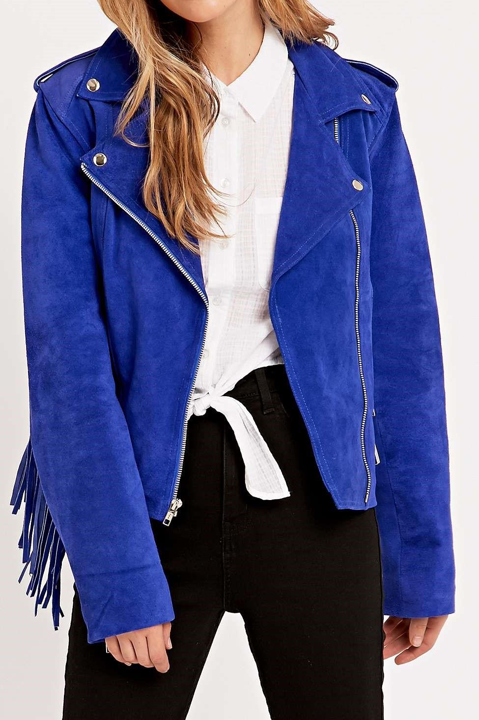 Urban Renewal Vintage Re-Made Suede Fringe Jacket In Blue