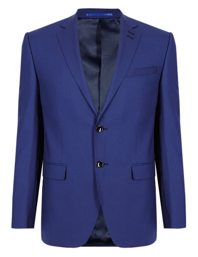 Autograph Cool Wool™ Blue Tailored Fit 2 Button Jacket, £115