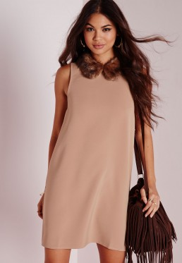 Missguided Faux Fur Collar Shift Dress, Camel, £35