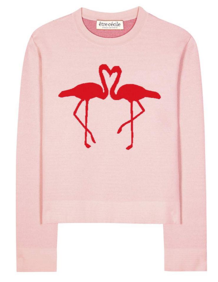 ÊTRE CÉCILE Flamingo jacquard sweater