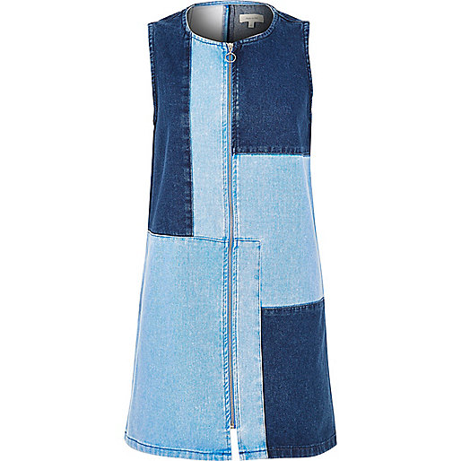 River Island Blue Patchwork Denim Dress