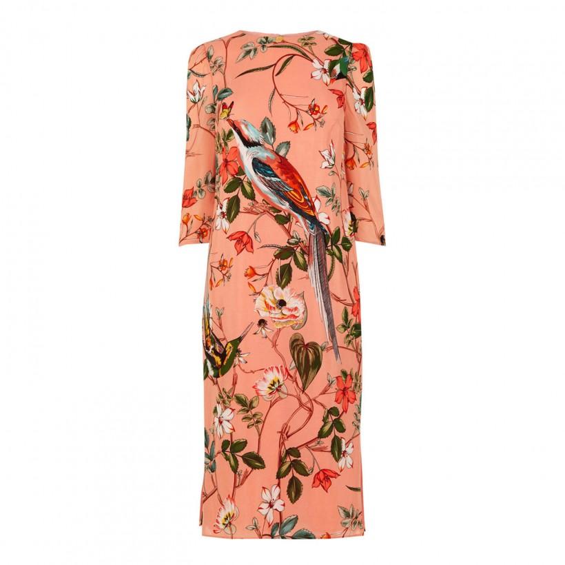 Warehouse Silk Floral Bird Print Dress