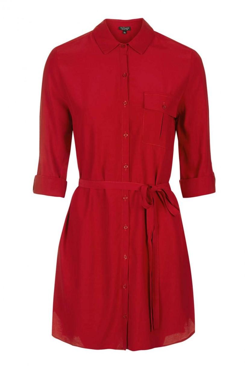 Topshop Red Shirt Dress