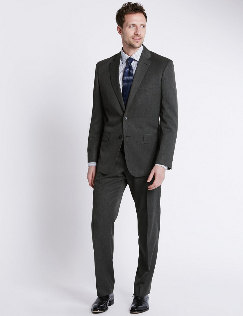 M&S COLLECTION GREY REGULAR FIT SUIT