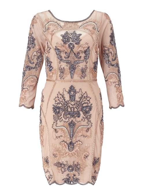MISS SELFRIDGE NUDE EMBELLISHED DRESS