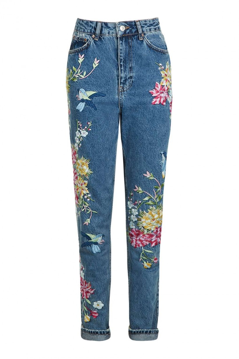 TOPSHOP TALL GARDEN EMBROIDERED MOM JEANS