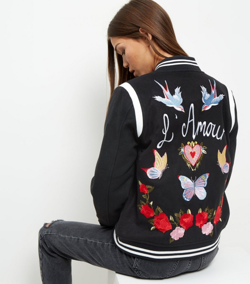NEW LOOK L'AMOUR EMBROIDERED BOMBER JACKET