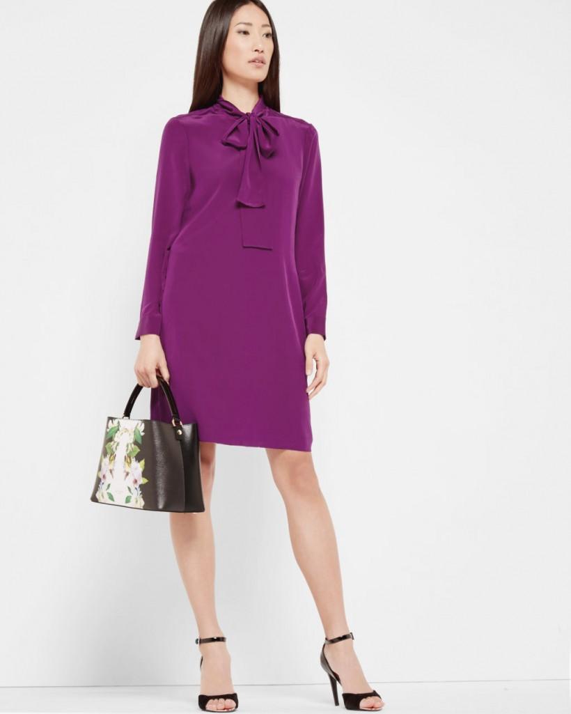 TED BAKER YANKA SILK PUSSY BOW DRESS