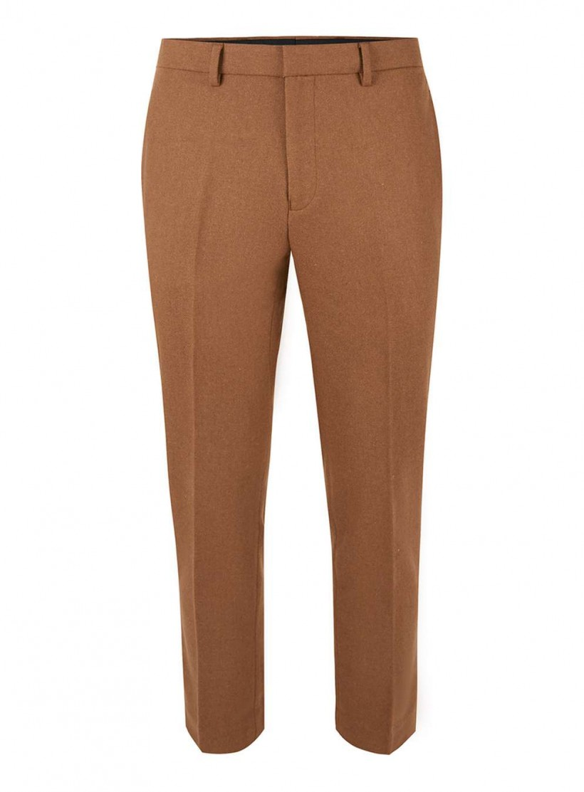 TOPMAN CAMEL WOOL BLEND CROPPED RELAXED FIT TROUSERS
