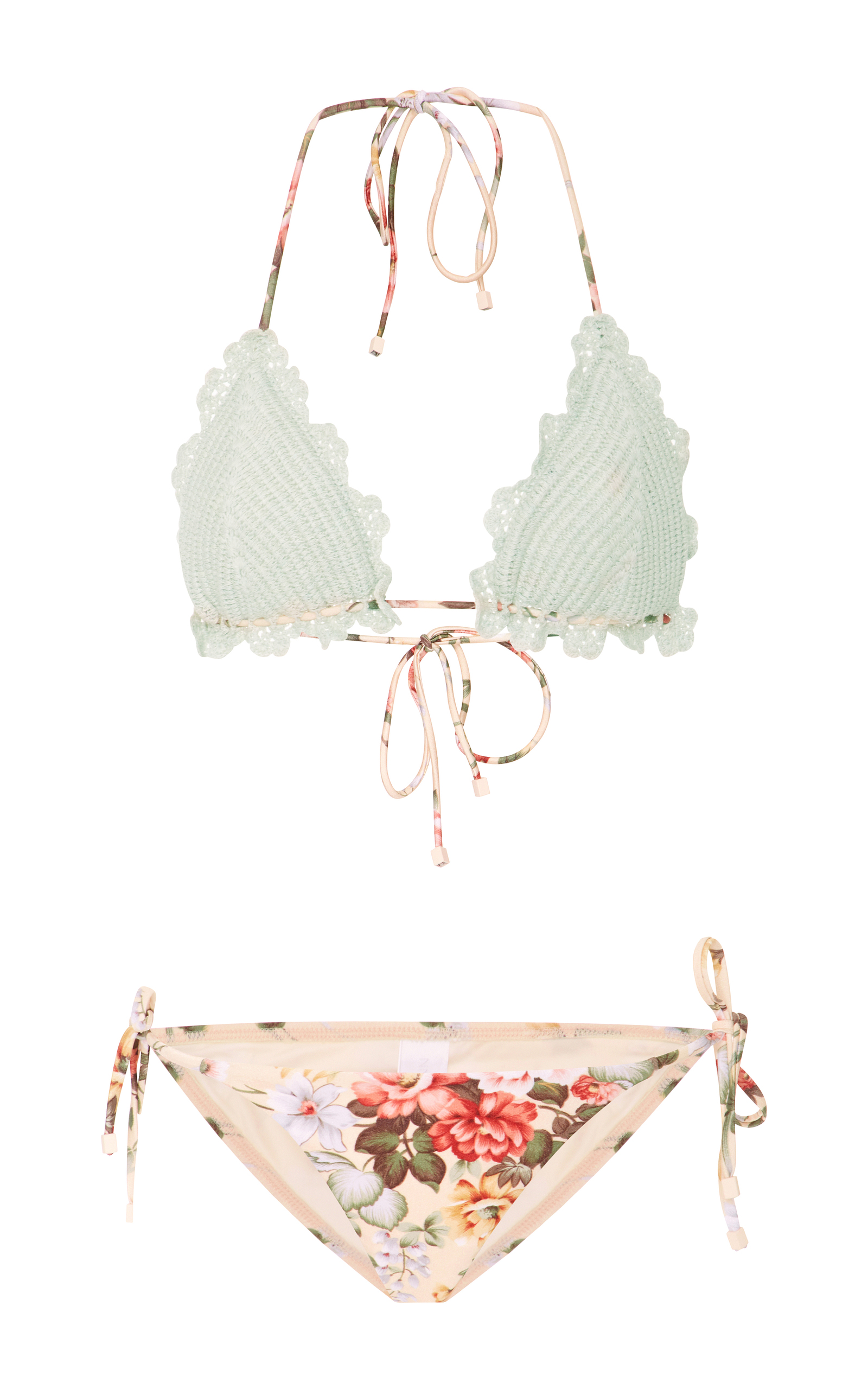 Zimmermann Crocheted Floral-Print Bikini