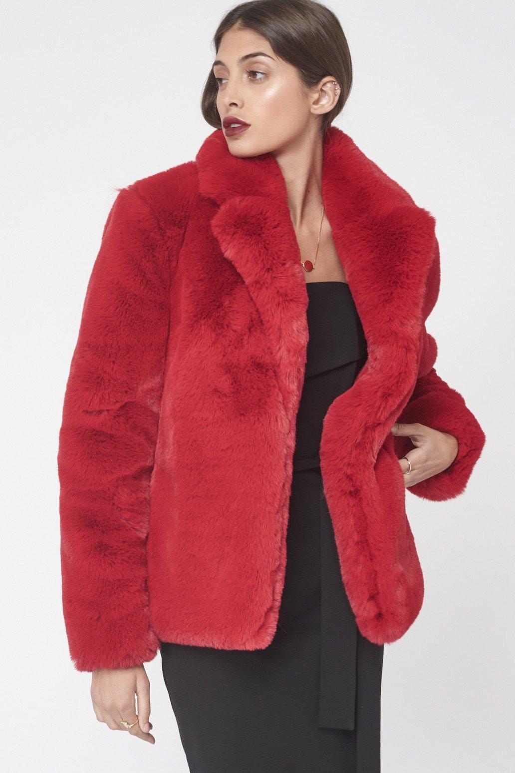 red faux fur jacket Unfold London
